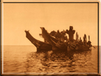 Masked dancers in canoes - Qagyuhl 1916 by Edward Curtis - Click to see Large View